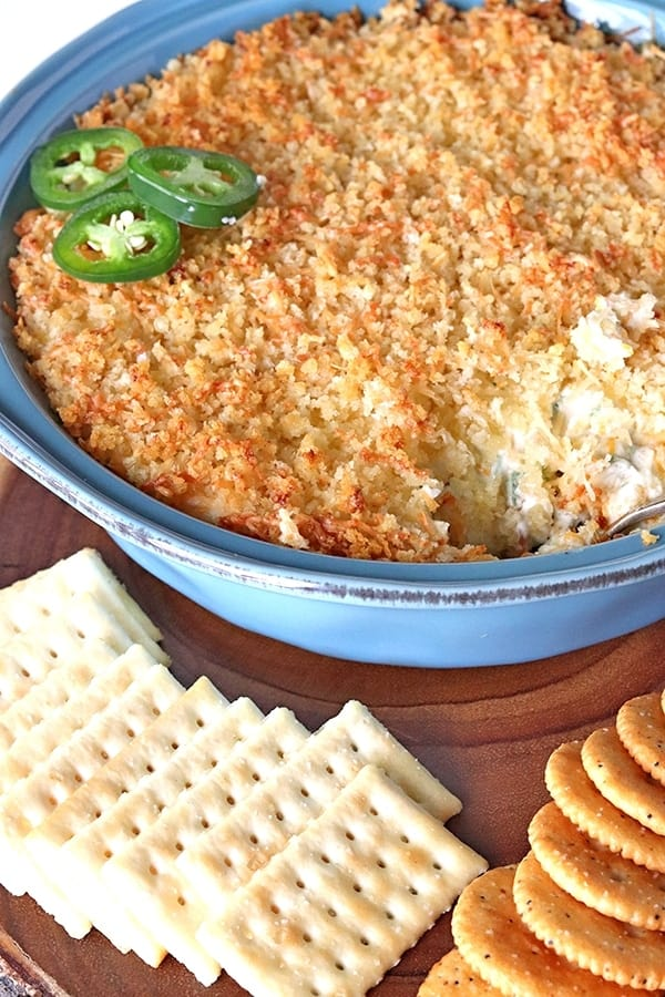 serving jalapeno popper dip