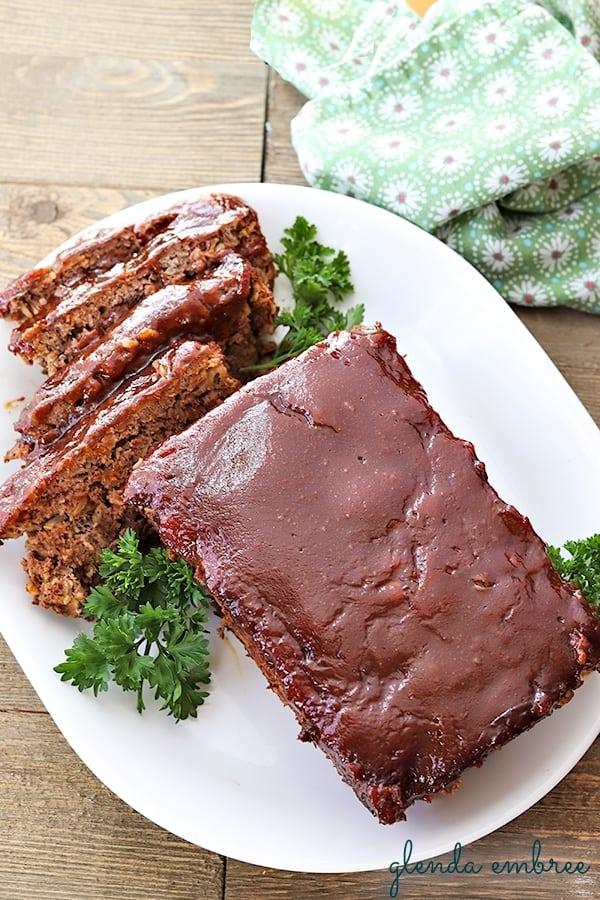 meatloaf sliced on platter