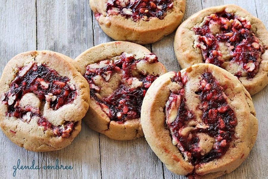 cranberry pecan filled cookies