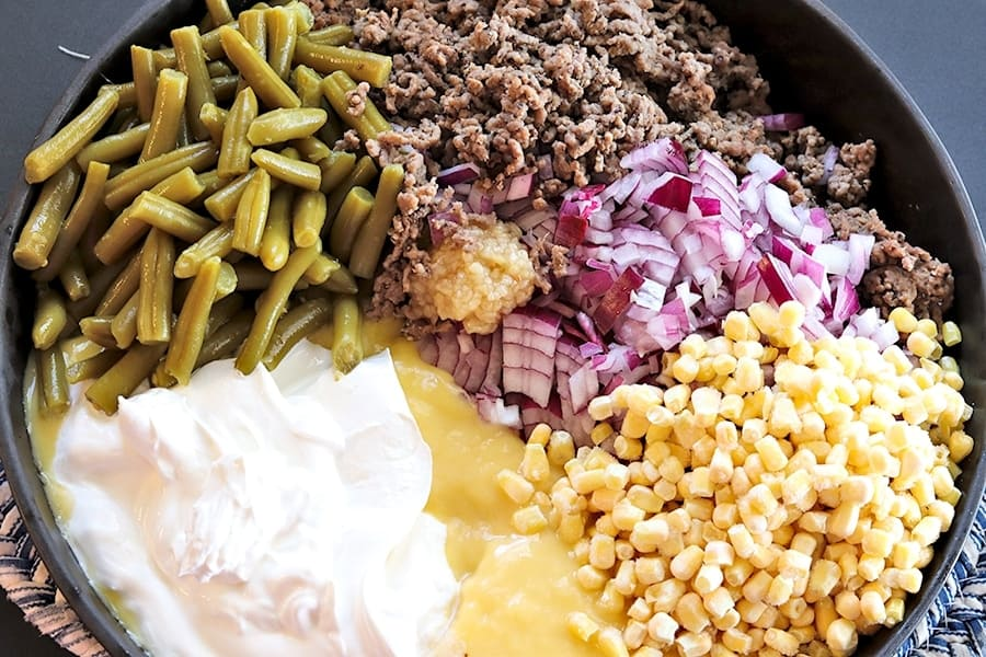 green beans and corn with other ingredients