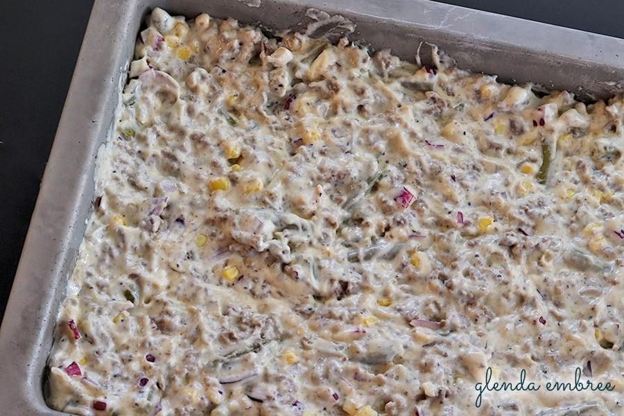 filling layer in baking pan