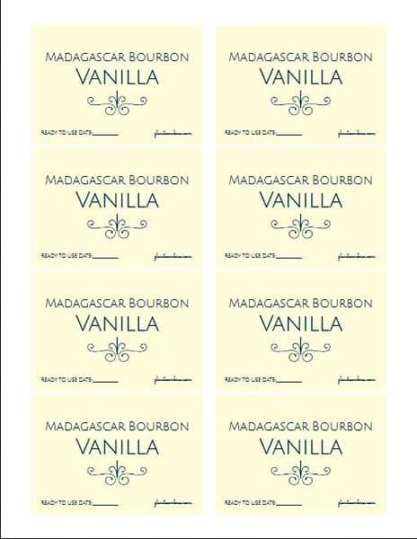 homemade vanilla extract jar labels