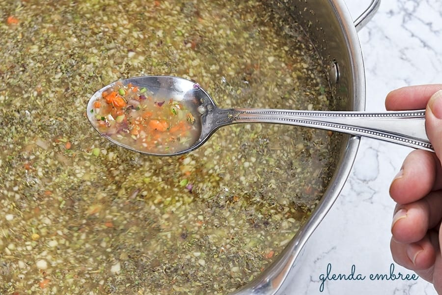 chicken stock and veggies for Zuppa Toscana