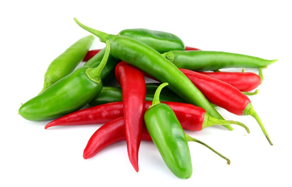 chilis and jalapenos