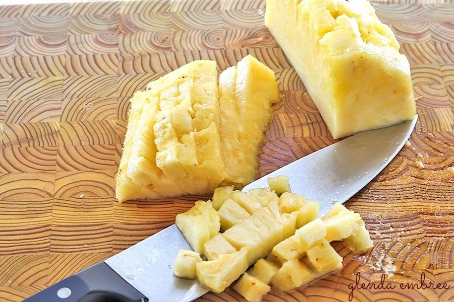 Dice the pineapple