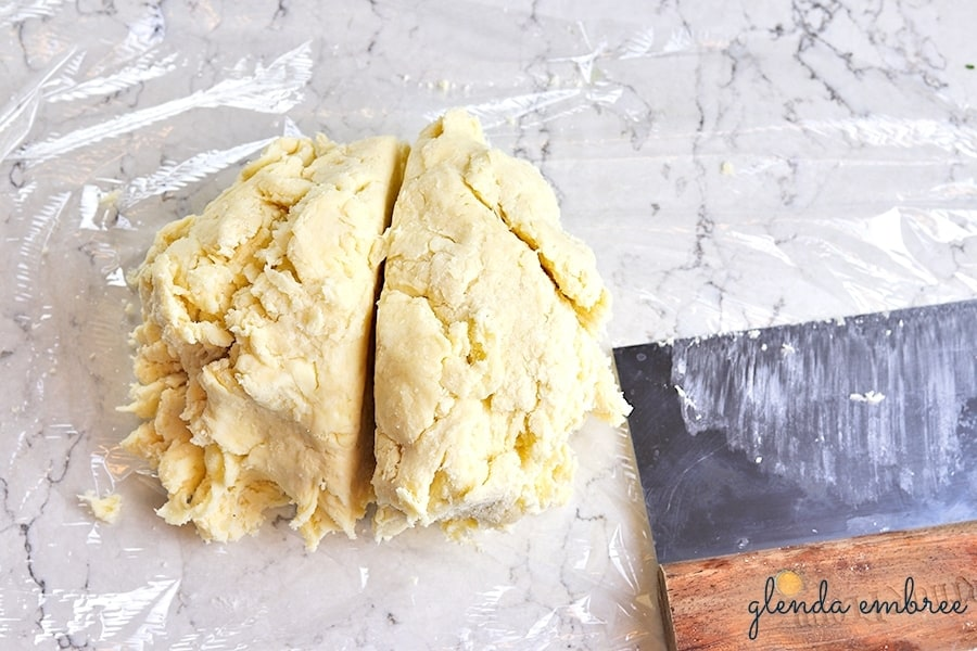 Homemade Apple Pie dough divided in half