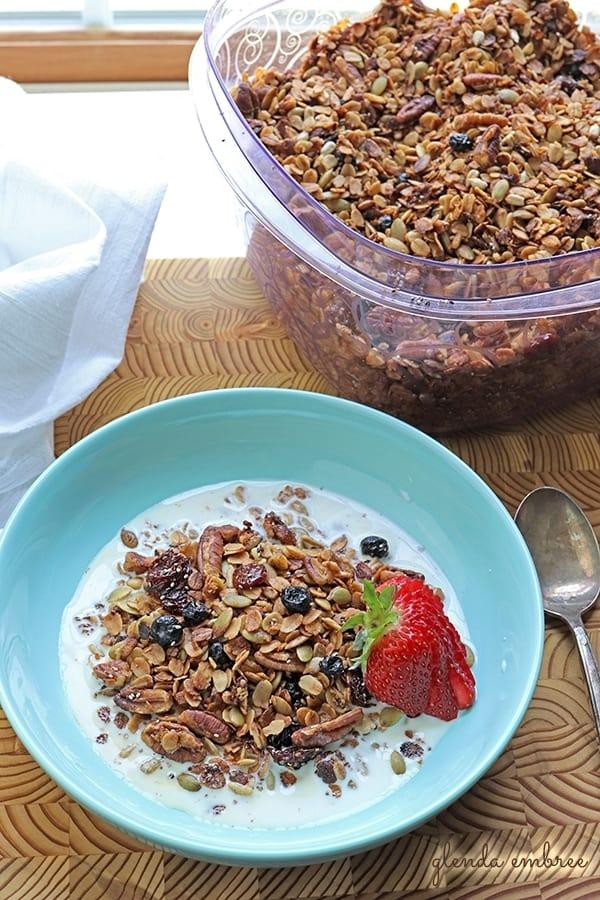 Gluten-Free Granola in milk