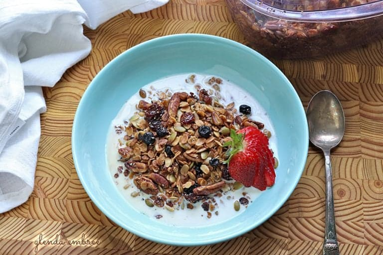 Gluten-free Granola with dried cherries and blueberries.