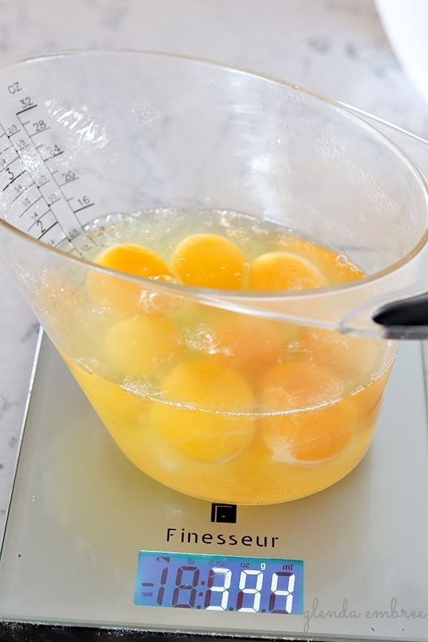 weighing eggs on a kitchen scale