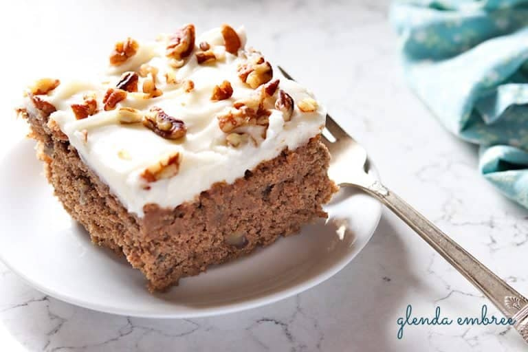 sour cream spice cake on a serving plate