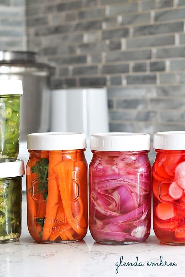 pickled-vegetables in canning jars