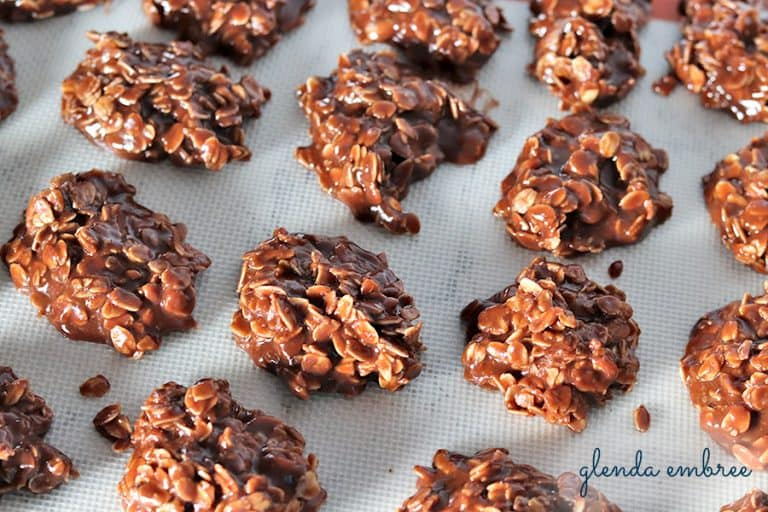 easy no-bake cookies cooling on a silpat