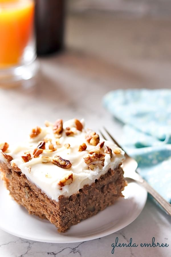 sour cream spice cake with cream cheese frosting