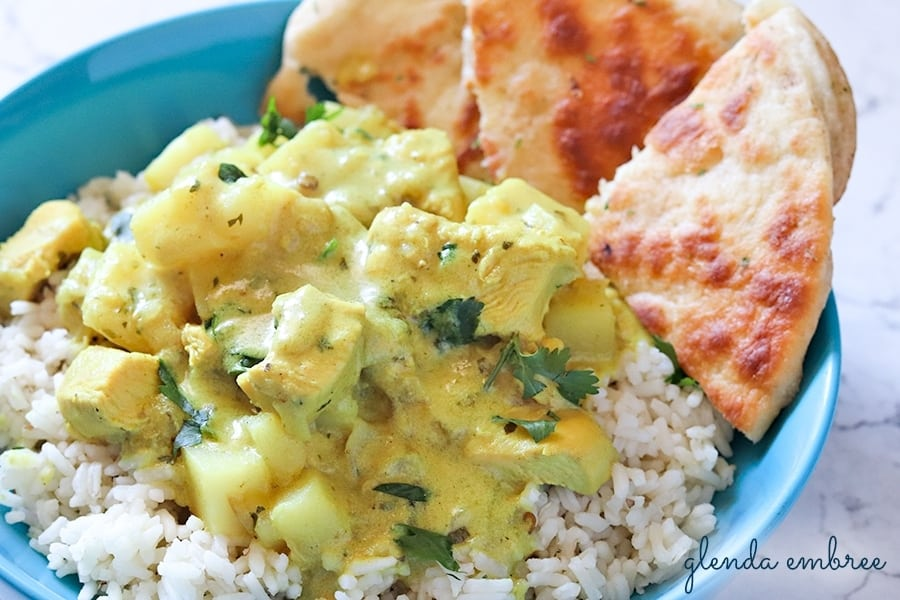 Yellow Chicken Curry with Potatoes served over rice