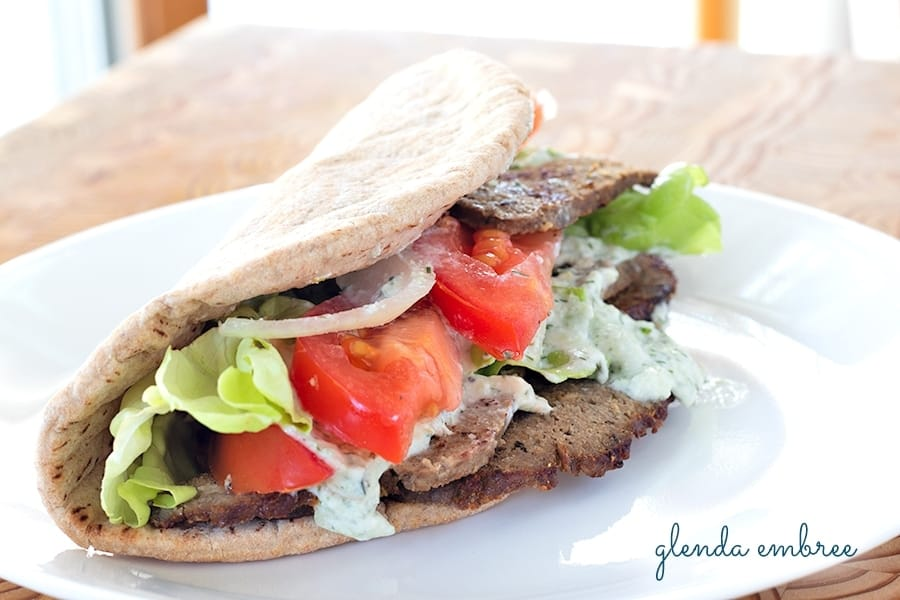 easy homemade gyro meat served on pita flat bread