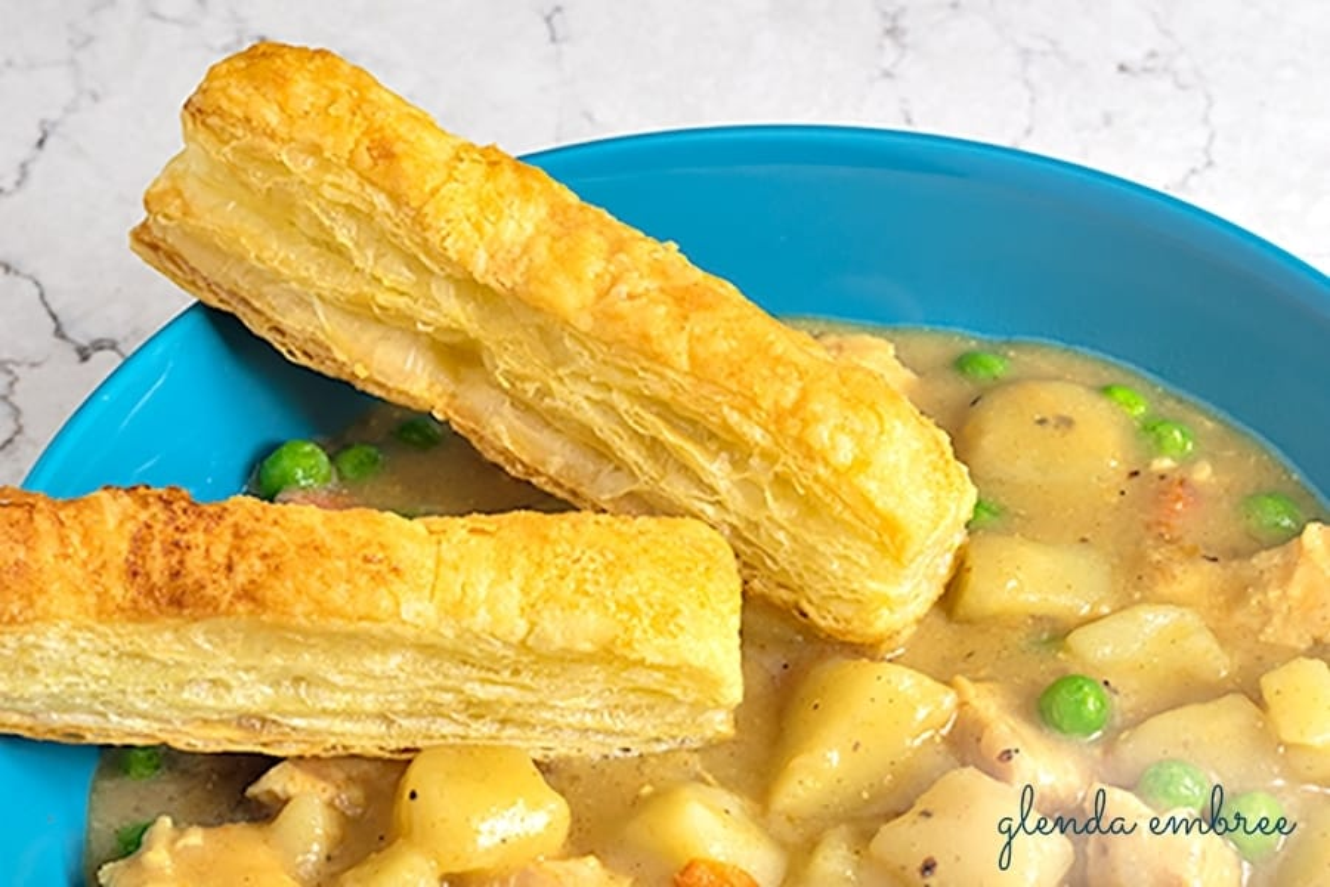 puff pastry sticks in Chicken pot pie soup