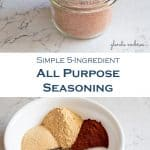 homemade all purpose seasoning in a mason jar and image of ingredients measured into a bowl