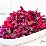 Ruby Coleslaw in a white serving dish